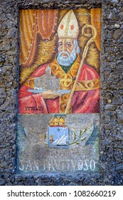 Detail of The Abbey of San Fruttuoso wall with its name on it, Liguria, Italy.