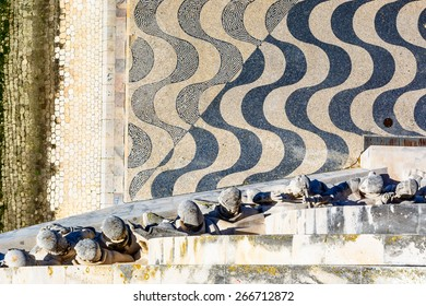 Detail from above of the Monument to the Discoveries in Lisbon, Portugal