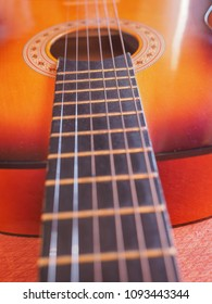 Detail of an acoustic guitar for playing music