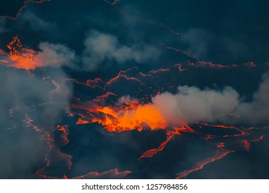 Detail active volcano in Nyiragongo in Congo