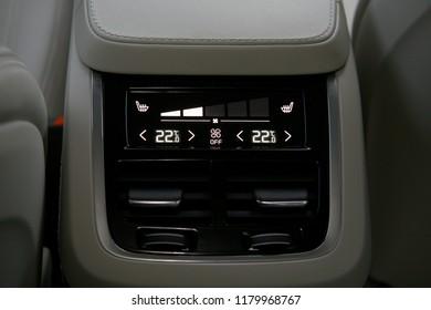detail air conditioning digital control button inside a car