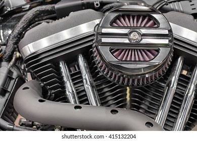 Detail of air filter of V-twin engines of motorcycle
