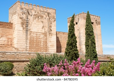 Detail of the Alcazaba a moorish fortification in the Alhambra of Granada, Spain,