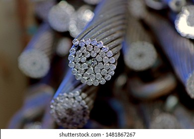 Detail of aluminium conductor cable cross-section
