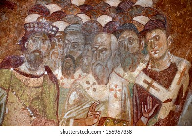 Detail of an ancient byzantine fresco of the council of Nicaea. From the church of St Nicholas, Demre, Southern Turkey