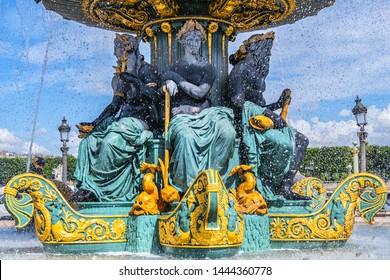 Detail of ancient Fontaines de la Concorde (1840) on Concorde Square (Place de la Concorde) in Paris, France.