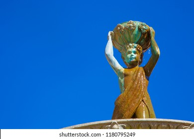 Detail of an ancient fountain in Osimo, Marche, Italy