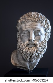 The detail of an ancient roman marble head