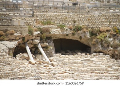 Detail of ancient tombs cut out of rock - Jewish graveyard outside Lion Gate between old city and Gethsemane,  the Old City of Jerusalem