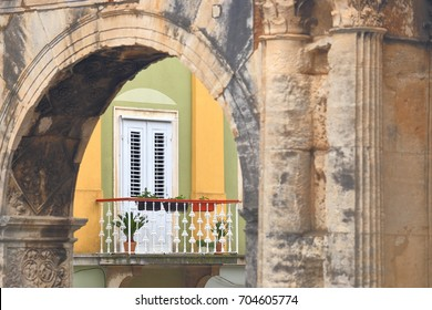 Detail of an ancient triumph arch in Pula, Croatia