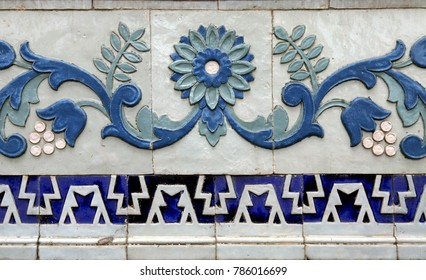 detail of antique blue ceramic tile pattern