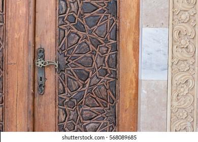 Detail of antique carved wooden door metal handle arabesque style lebanese & Carved Door Images Stock Photos \u0026 Vectors   Shutterstock