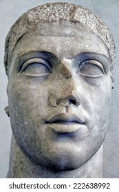 The detail of antique Roman marble bust