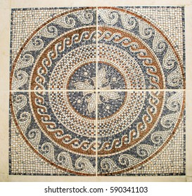 Detail of the Arab mosaic floor of a geometrical form