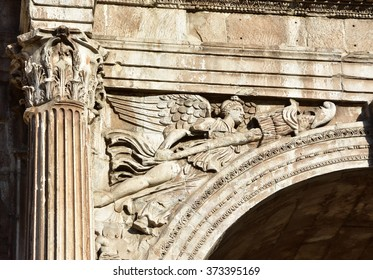 Detail from the Arch of Constantine spandrel with winged victory and trophies