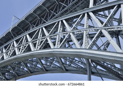 Detail arch of iron structure of  Dom Luis  Bridge, in Porto, Portugal