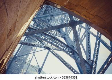 Detail of the architecture the Luis I bridge in Porto.