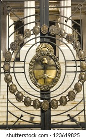 Detail from argentina shield of the Congress. The National Congress in Buenos Aires, Argentina