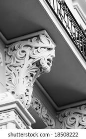 Detail of the Art Nouveau building facade (Old Town, Riga, Latvia)