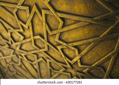Detail of the artisan door of the royal palace in Fez, Morocco.