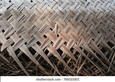 Detail of an Asian house roof made from coconut palm leaf. Natural protection from sun and rain .