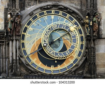 Detail of the astronomical clock and statues in the town hall of Prague