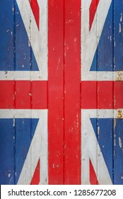 Detail of an Australian flag on a vintage wooden plank texture for backgrounds and walpapers