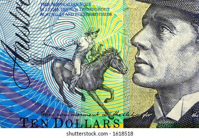 Detail of Australian ten dollar note, featuring Banjo Paterson