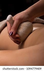 Detail of back massage woman
