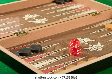detail of a backgammon game with two dice close up