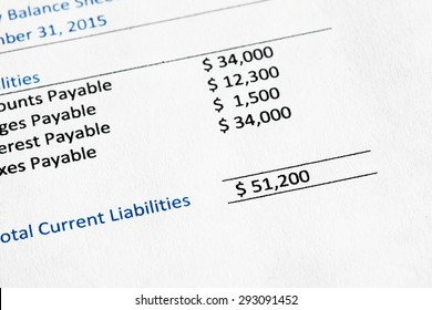 Detail from a balance sheet highlighting current liabilities