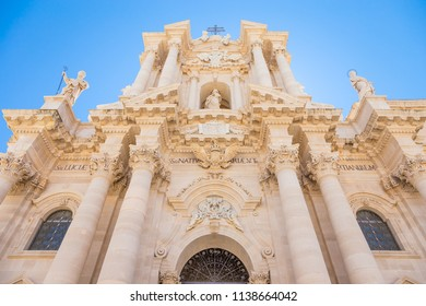 Detail of the baroque Cathedral of Syracuse, Italy, located in the Ortigia area.