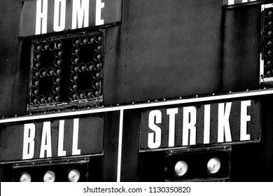 Detail of baseball scoreboard score board with ball strike home and innings