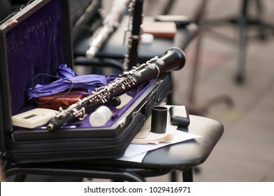 Detail of the bassoon closeup in dark colors
