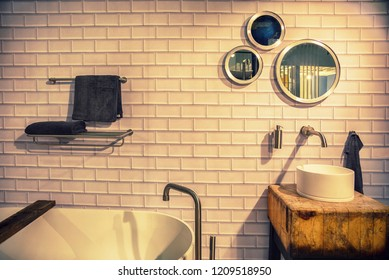 detail of bathroom in ecological style