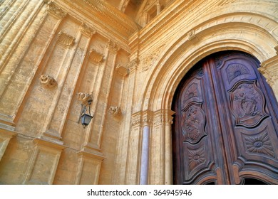 Detail of a beautiful doors of the Malaga Cathedral in Malaga, Andalusia, Spain