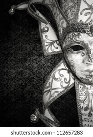 Detail of a beautiful luxury Venetian mask in black and white