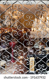 Detail of beautifully ornate wrought iron window grill, Peru