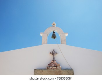 Detail of a bell tower of an orthodox church at Skyros island, Greece