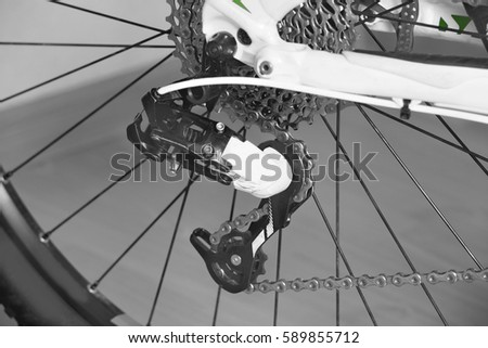 Detail Bicycle Chain Derailleur Rear Wheel Stock Photo Edit Now