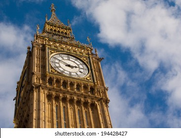 detail of the big ben's clock. The hour hand is on the number three while the minute hand is on the number ten