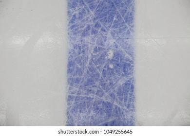 detail blue line on ice hockey rink