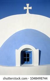 Detail of blue and white greek church at greek island