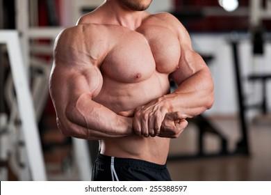 Detail eines im Fitnessraum aufgestellten Bodybuilders: Seitenkasten