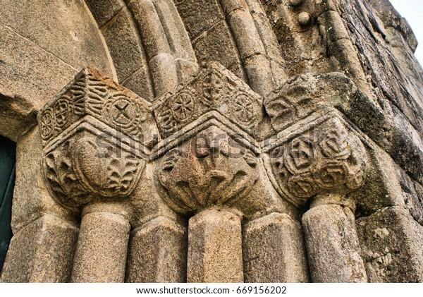 Detail of Boelhe romanesque church in Penafiel, north of Portugal