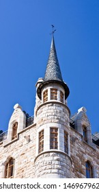 Detail of boots house with blue sky in Leon