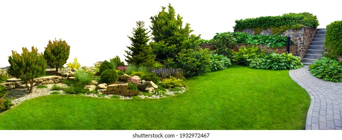 Detail of a botanical garden isolated on white background. Garden stone path with grass growing up between the stones. - Shutterstock ID 1932972467