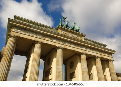 Detail of Brandenburg Gate in Berlin, Germany Pariser Platz sunny day