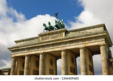 Detail of Brandenburg Gate Quadriga in Pariser Platz, Berlin, Germany on sunny day