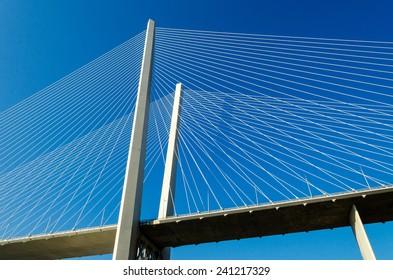 Detail of the bridge across the Golden Horn Bay, Vladivostok, Russian.
